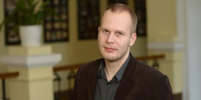 Latvijas Radio bigbenda muzikālais vadītājs, saksofonists Kārlis Vanags. Foto: Kaspars Garda, Rīga2014.