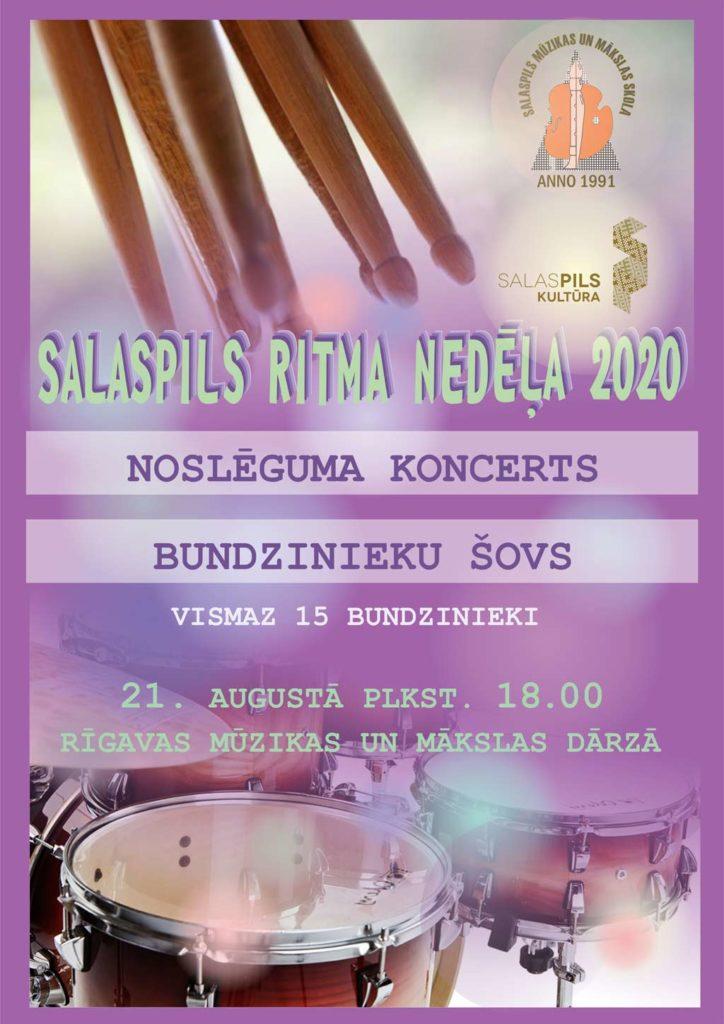 Salaspils ritma nedēļā 2020, noslēguma koncerts, Bundzinieku šovs, vismaz 15 bundzinieki, Rīgavas dārzā.